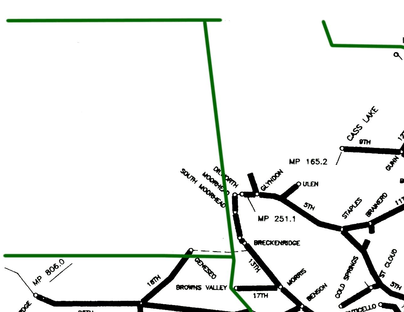 Burlington Northern Lakes Division System Map