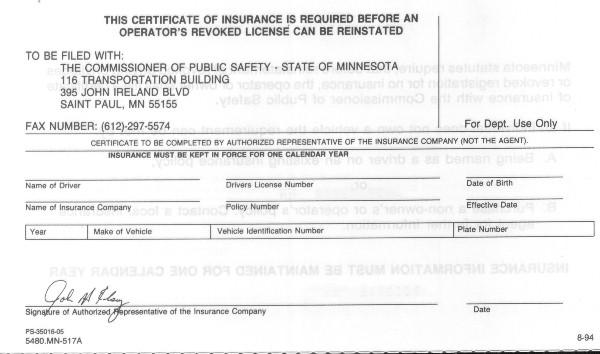 proof of insurance id card template  Minnesota Certificate of Insurance